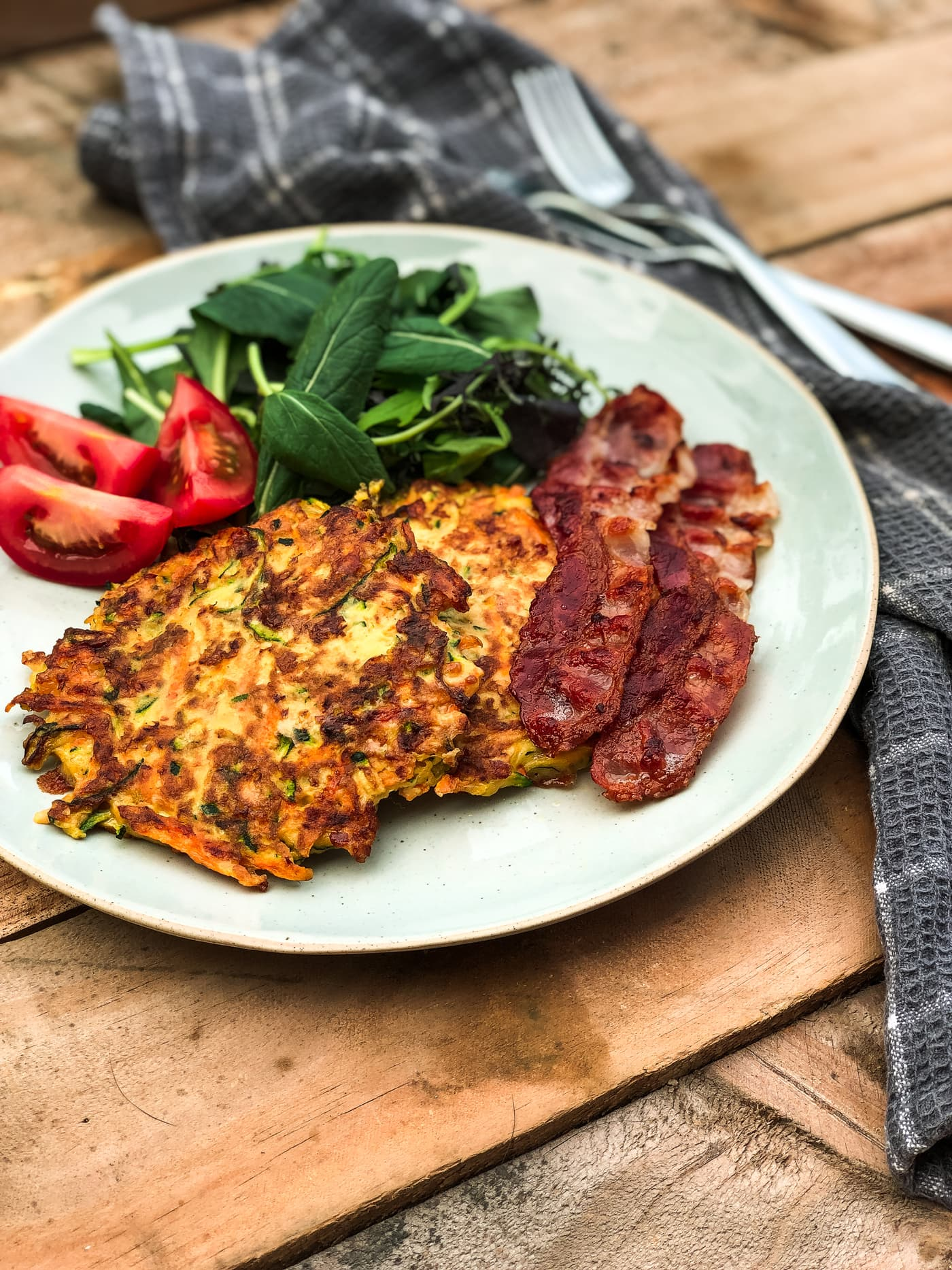 Courgette, Carrot and Bacon Fritters